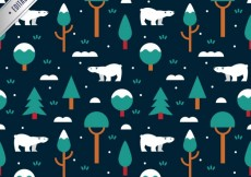 Free vector Winter pattern with polar bears and trees #31687