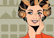 Free vector Woman with curlers in their hair #30779