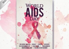 Free vector World aids day poster with watercolor splahes #32170