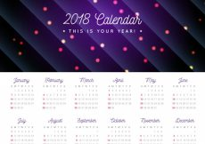 Free vector 2018 calendar with lights and lines #1392