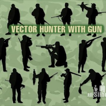 Free vector 67 Vector hunter with gun #3138