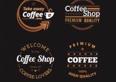 Free vector Assortment of coffee badges with white details #2696