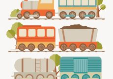 Free vector Assortment of colored trains in flat design #2017