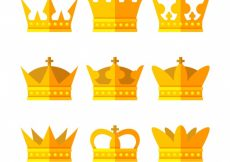 Free vector Assortment of nine gold crowns in flat design #1428