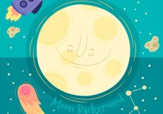 Free vector Background of smiling moon with rocket and meteorites #30