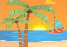 Free vector Beach background with boat and palm trees #930