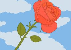 Free vector Blue background with decorative rose and clouds #1520