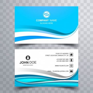 Free vector Blue business card with wavy shapes #2626