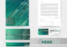 Free vector Business stationery green design #3542