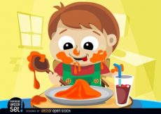 Free vector Child messy eating #3207