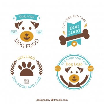 Free vector Collection of blue and brown dog logos #384