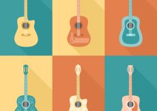 Free vector Collection of colored guitars in flat design #1905