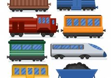 Free vector Collection of train wagons in flat design #1184