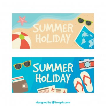 Free vector Colored banners with decorative summer items #2562
