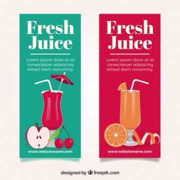 Free vector Colored fruit juice banners #3053