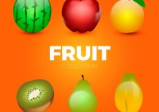 Free vector Colored fruits in realistic design #254