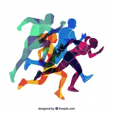 Free vector Colored silhouettes of runners #968
