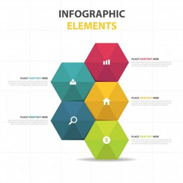 Free vector Colorful abstract hexagon business infographic template #3262