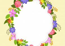 Free vector  Colorful flowers decorated elegant frame design #1168