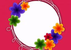 Free vector  Colorful flowers decorated rounded frame with space for your text #576