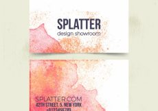 Free vector Corporate card with orange and red watercolor stains #3314