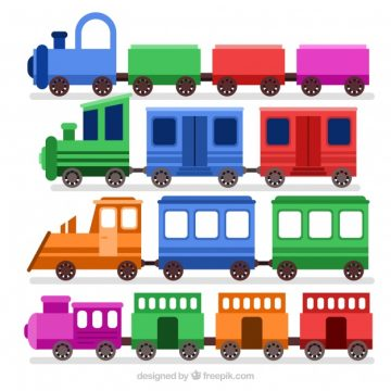 Free vector Cute set of toy trains with fantastic colors #2485