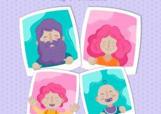 Free vector Dotted background with photos of family members #1080