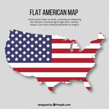 Free vector Flat american map with flag design #1250