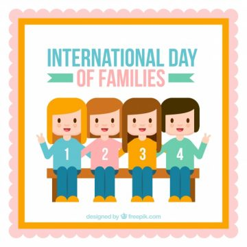 Free vector Flat background with four smiling girls for family day #3310