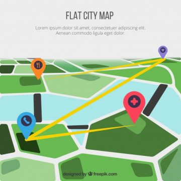 Free vector Flat city map background with pins #1236