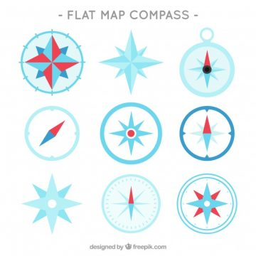 Free vector Flat map compass collection #1230