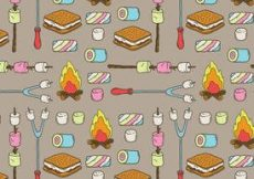 Free vector Free Camp Marshmallows Vector Pattern #2396