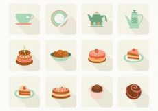 Free vector Free Flat Cake And Tea Vector Icons #2724