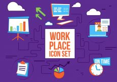 Free vector Free Flat Design Vector Work Place Icons #941