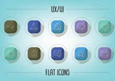 Free vector Free Flat UX/UI Icons Vector #1774