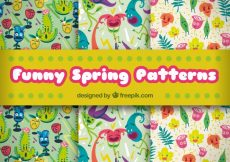 Free vector Great patterns with funny characters for spring #2693