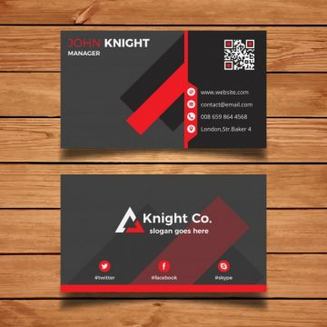 Free vector Grey and red corporate business card #2993