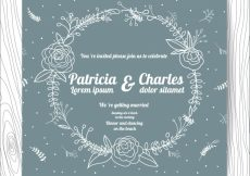 Free vector Grey wedding invitation with floral wreath design #3338