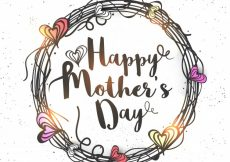 Free vector  Happy Mother's Day lettering in hearts decorated rounded frame, Creative hand drawn greeting card design #1138