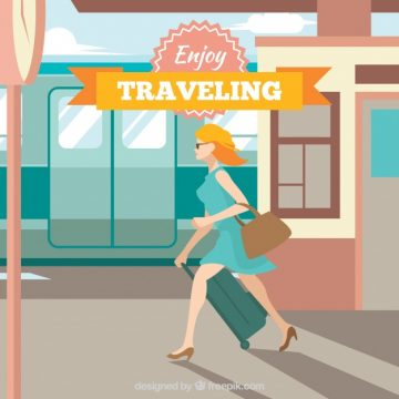 Free vector Happy woman in a train station #3248