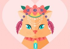 Free vector Heart background of cat with boho elements #2503