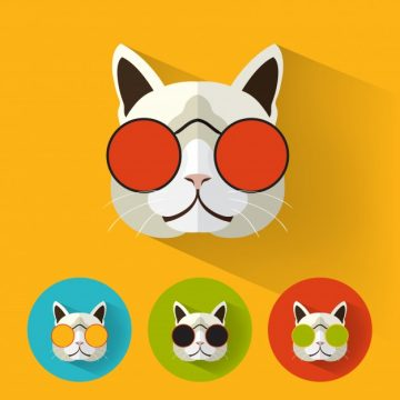 Free vector Hipster cat with long shadow #912