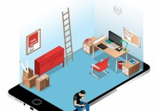 Free vector Isometric office on iphone screen #240