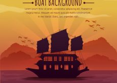Free vector Japanese ancient boat background #1090