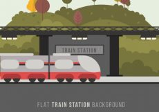 Free vector Landscape scene with train at the station #1214