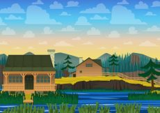 Free vector Landscape with house background #3530