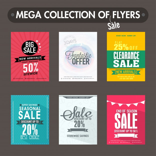 free vector mega collection of big sale and discount flyers