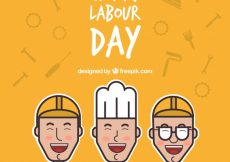 Free vector Orange background with happy workers for labour day #584
