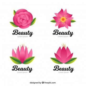 Free vector Pack of beauty logos with pink flowers #2735