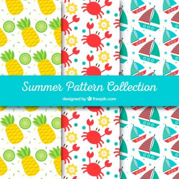 Free vector Pack of colored patterns with summer objects #2377